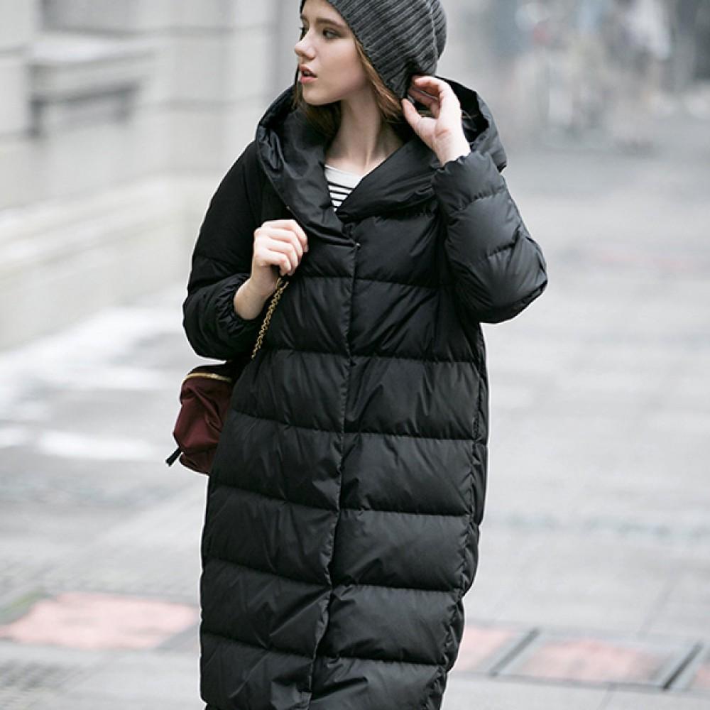 Siti Selected одежда купить в интерне-магазине,зимний женский пуховик грушевидного силуэта с капюшоном