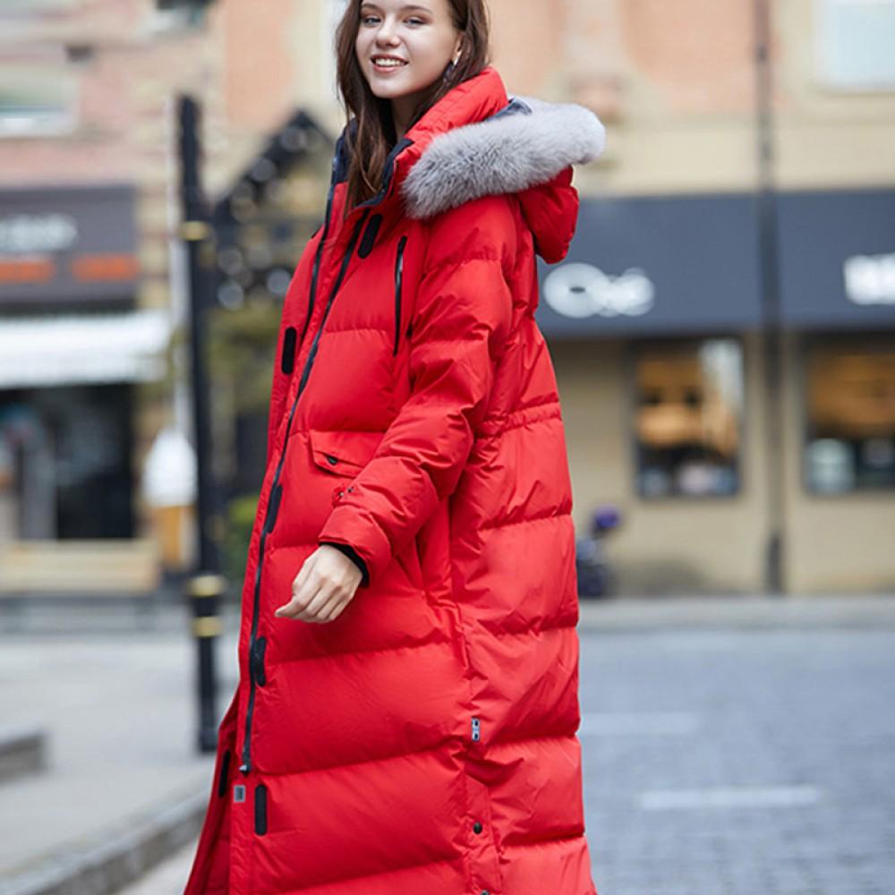 SITI Selected зимний женский оверсайз длинный красный прямой пуховик с капюшоном и мехом