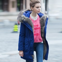 Siti Selected бренд пуховик-парка с меховыми вставками,капюшоном с опушкой,талией на кулиске и накладными карманами