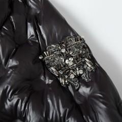 Siti Selected элегантное черное длинное пуховое пальто с капюшоном и поясом