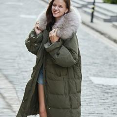 Siti Selected длинное оверсайз Oversize зимнее женское пуховое пальто зеленый хаки свободное элегантное с капюшоном и ме