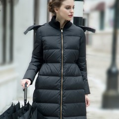 SITI Selected зимний черный элегантный приталенный пуховик минимализм с капюшоном