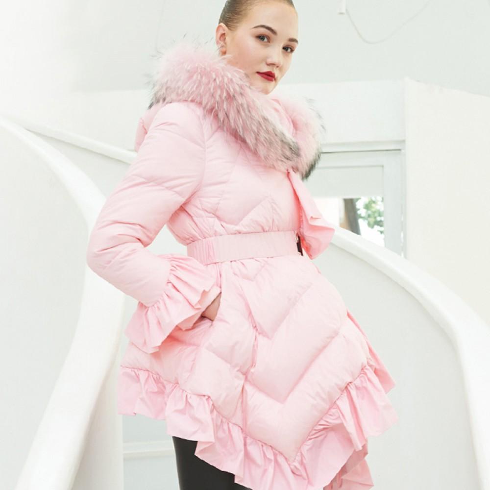3DIMENSIONS женский зимний пуховик с заостренным капюшоном гномом,  пышным низом и воланами, меховой отделкой, розовый ч