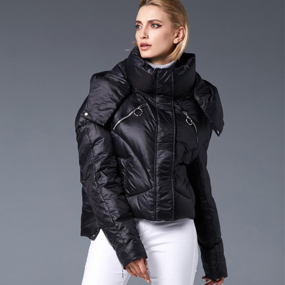 3DIMENSIONS короткая пуховая куртка с приспущенными плечами рукавами, модная розовая зефирка пуховик черный цвет с молни