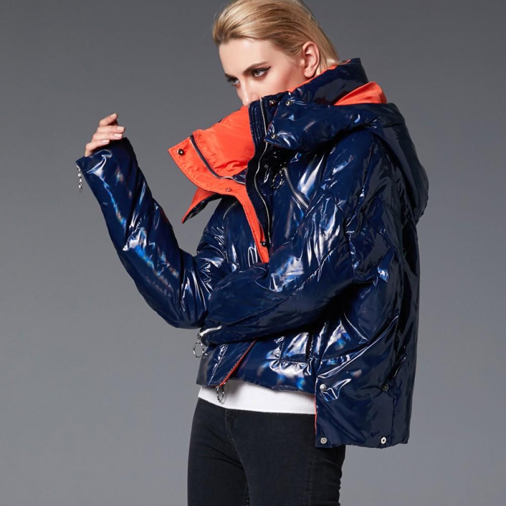 3DIMENSIONS короткий зимний пуховик куртка свободный модный дизайн с капюшоном худи и молниями на рукавах и карманах