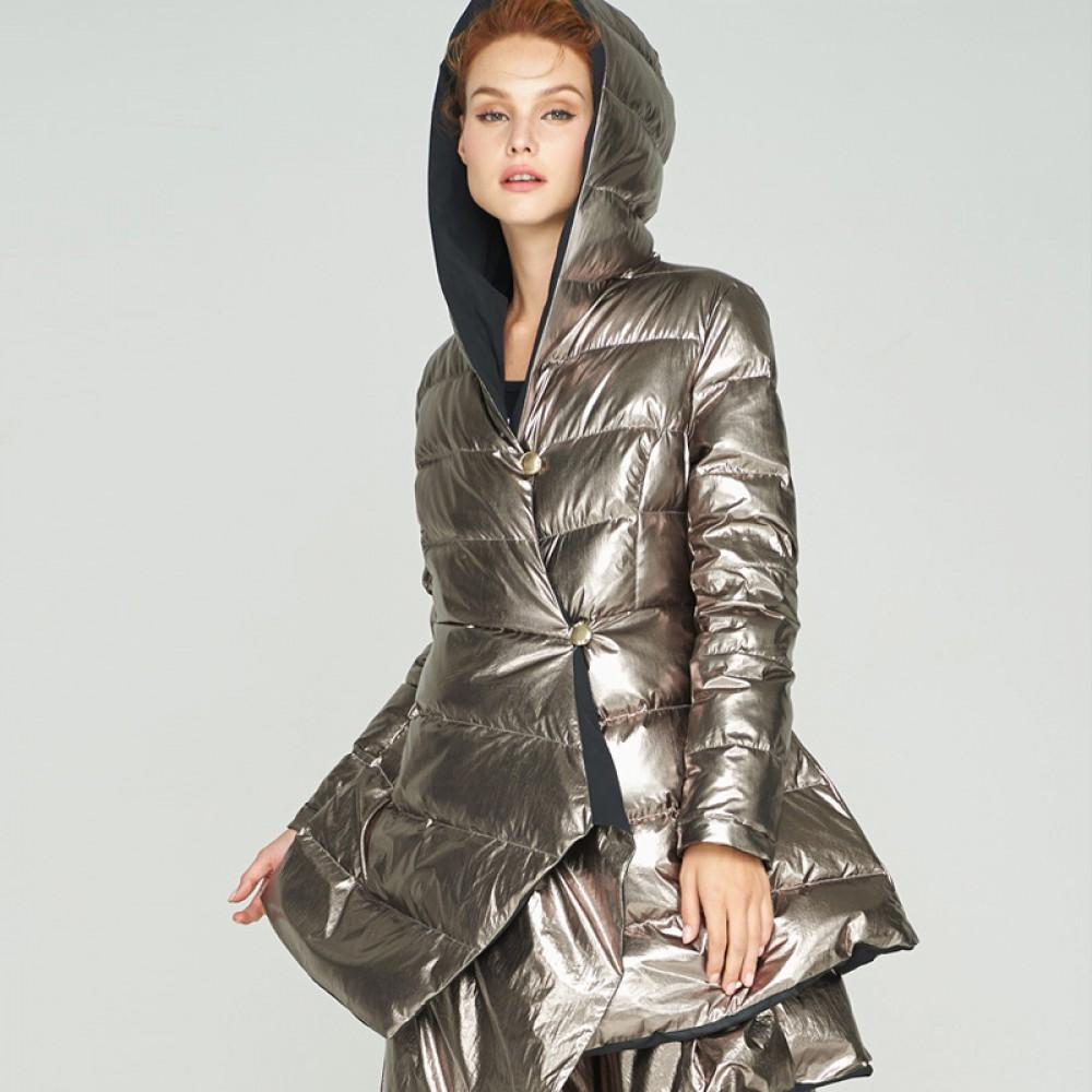 пуховик металлик стальной черный двухсторонний асимметричный с капюшоном и пышной юбкой на пуговицах стильный образ 3DIM