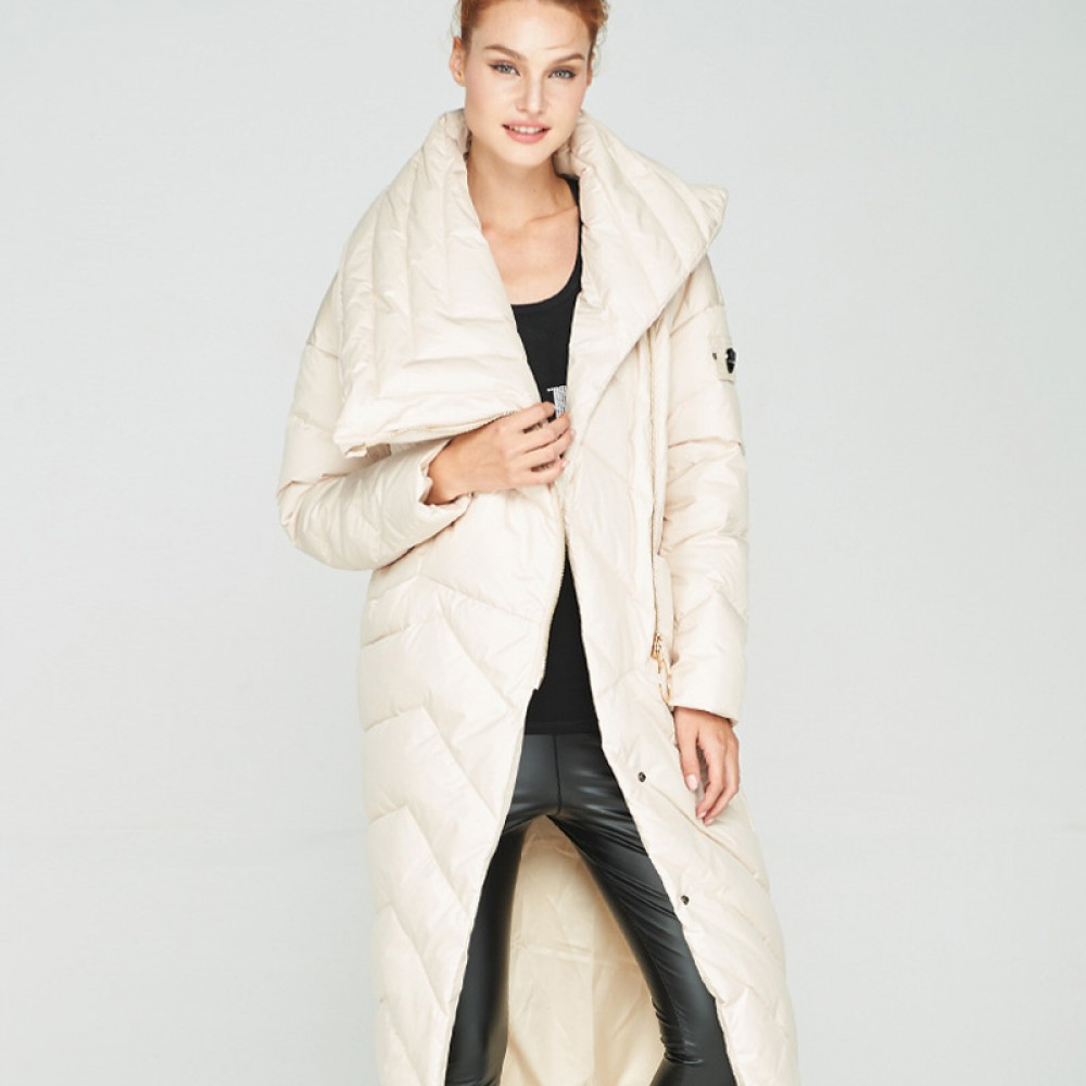 3DIMENSIONS элегантное женское зимнее пуховое пальто ниже колена с высоким воротником стойкой косой застежкой молния без