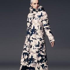 3DIMENSIONS длинный женский пуховик в стиле милитари с капюшоном, зимнее пуховое пальто камуфляж  черное ниже колена