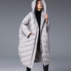 СКИДКА 3DIMENSIONS длинное женское зимнее пальто оверсайз oversize со спущенным плечом свободное с капюшоном серое черно