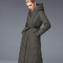 СКИДКА 3DIMENSIONS зимнее женское пуховое пальто классическое ниже колена с капюшоном и поясом темно-зеленое хаки, черно