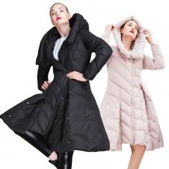 СКИДКА 3DIMENSIONS пуховик расклешенный с капюшоном трапеция теплый женский розового и черного цвета с кнопками