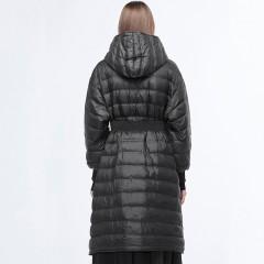 SDEER женский осенне-зимний стеганый черный длинный пуховик пальто с поясом и капюшоном