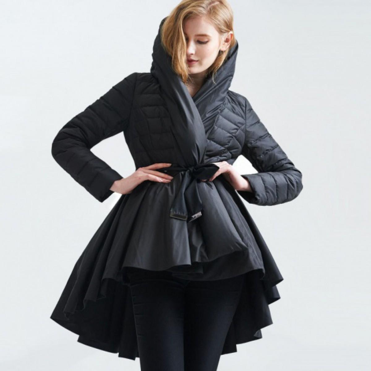 пуховик-платье укороченный спереди асимметричный элегантный черный белый с капюшоном 3DIMENSIONS