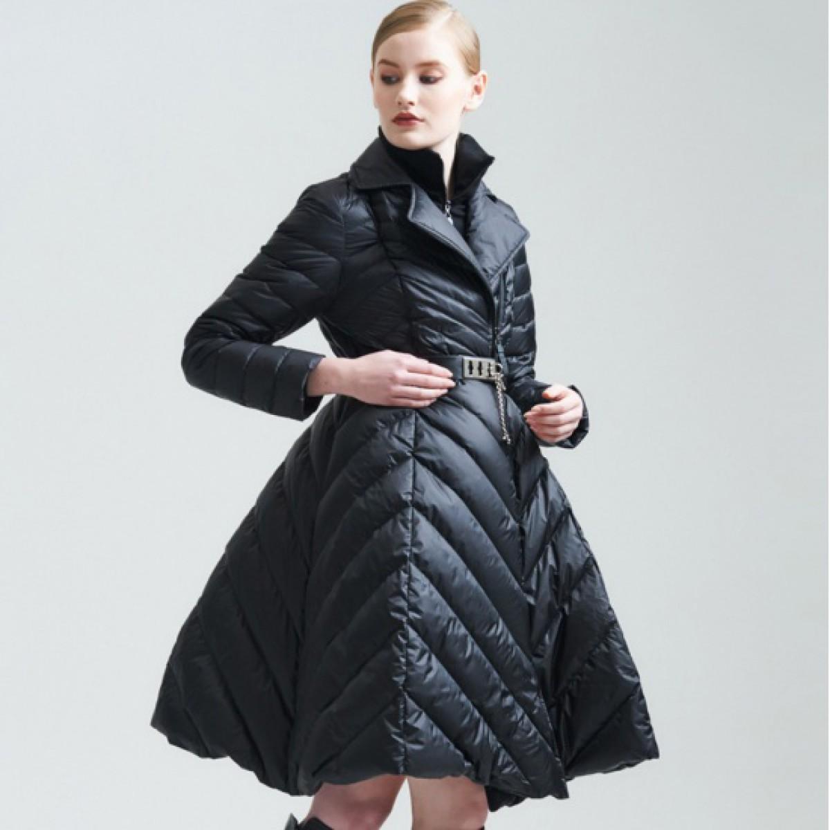 зимний женский пуховик с пышной юбкой стеганный черный женский 3DIMENSIONS