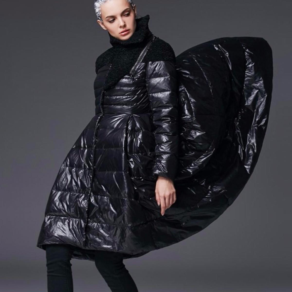 зимний черный пуховик с пышной юбкой удлиненной сзади элегантный женственный образ 3DIMENSIONS