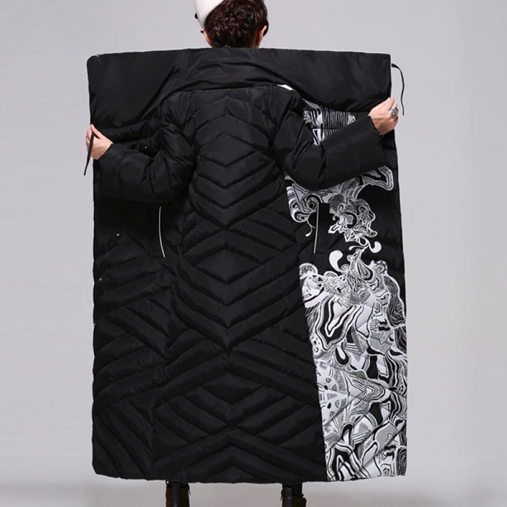женский зимний стеганный пуховик-пальто Luxury этнический стиль,оригинальный дизайн,косая застежка, высокий воротник, бе