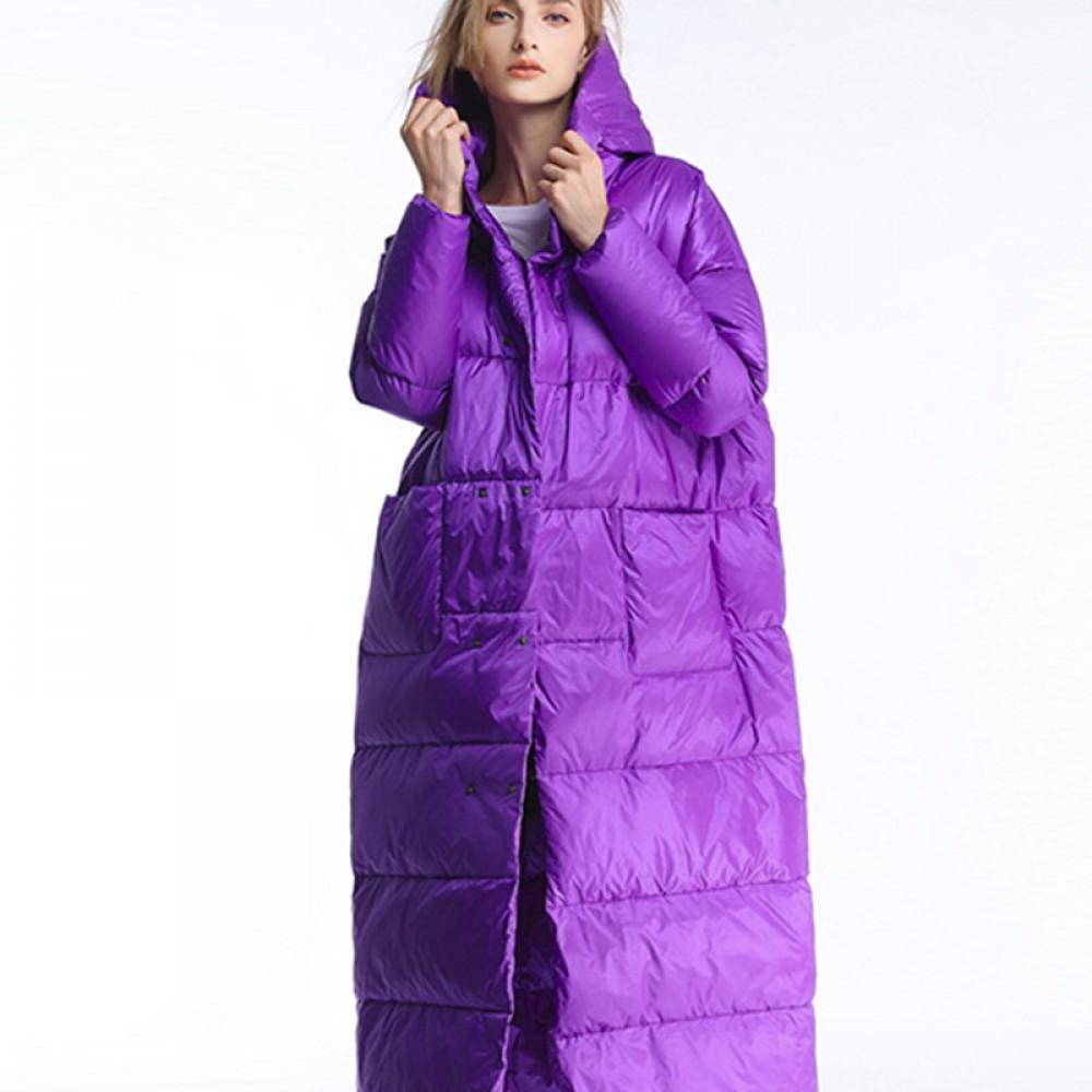 длинный фиолетовый пурпурный  пуховик зефирка зимний женский теплый 300г пух 90% свободный оверсайз с капюшоном