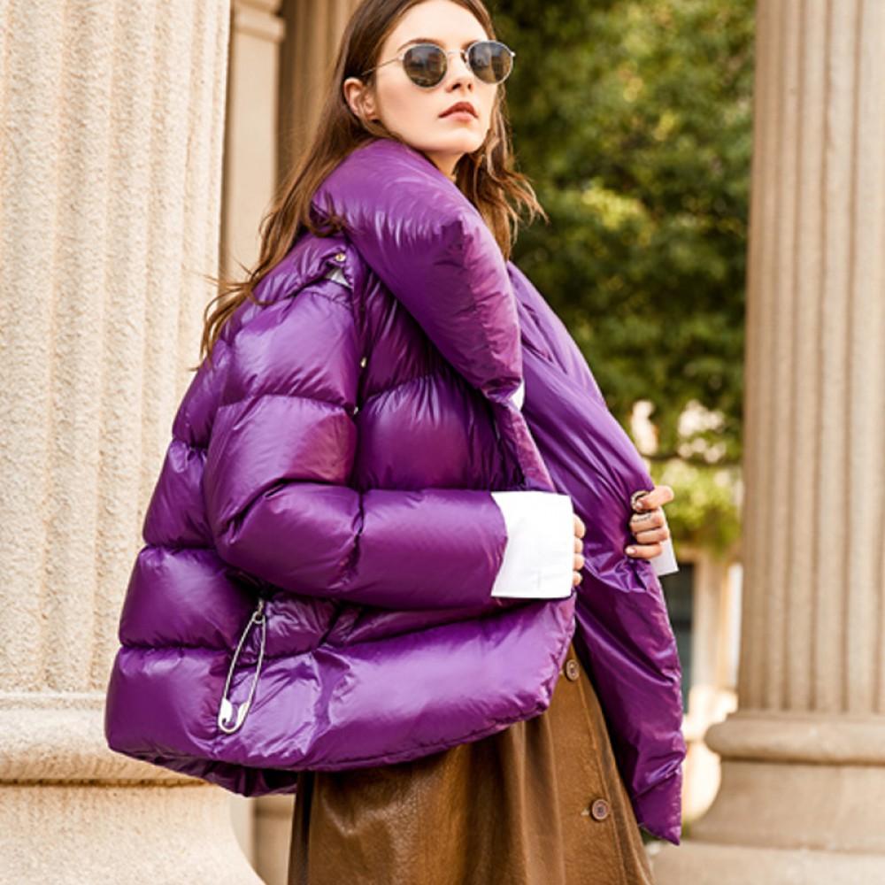 демисезонная осень зима  женская куртка-зефирка лиловая со съемными рукавами  асимметричный пуховик  фиолетовый с булавк