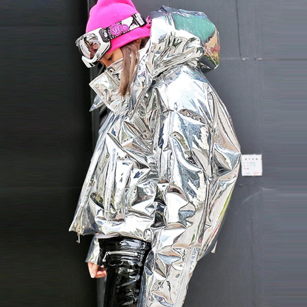 космический пуховик зеркальный зефирка серебристый металлик фольга короткий необычного кроя с капюшоном худи зимний женс