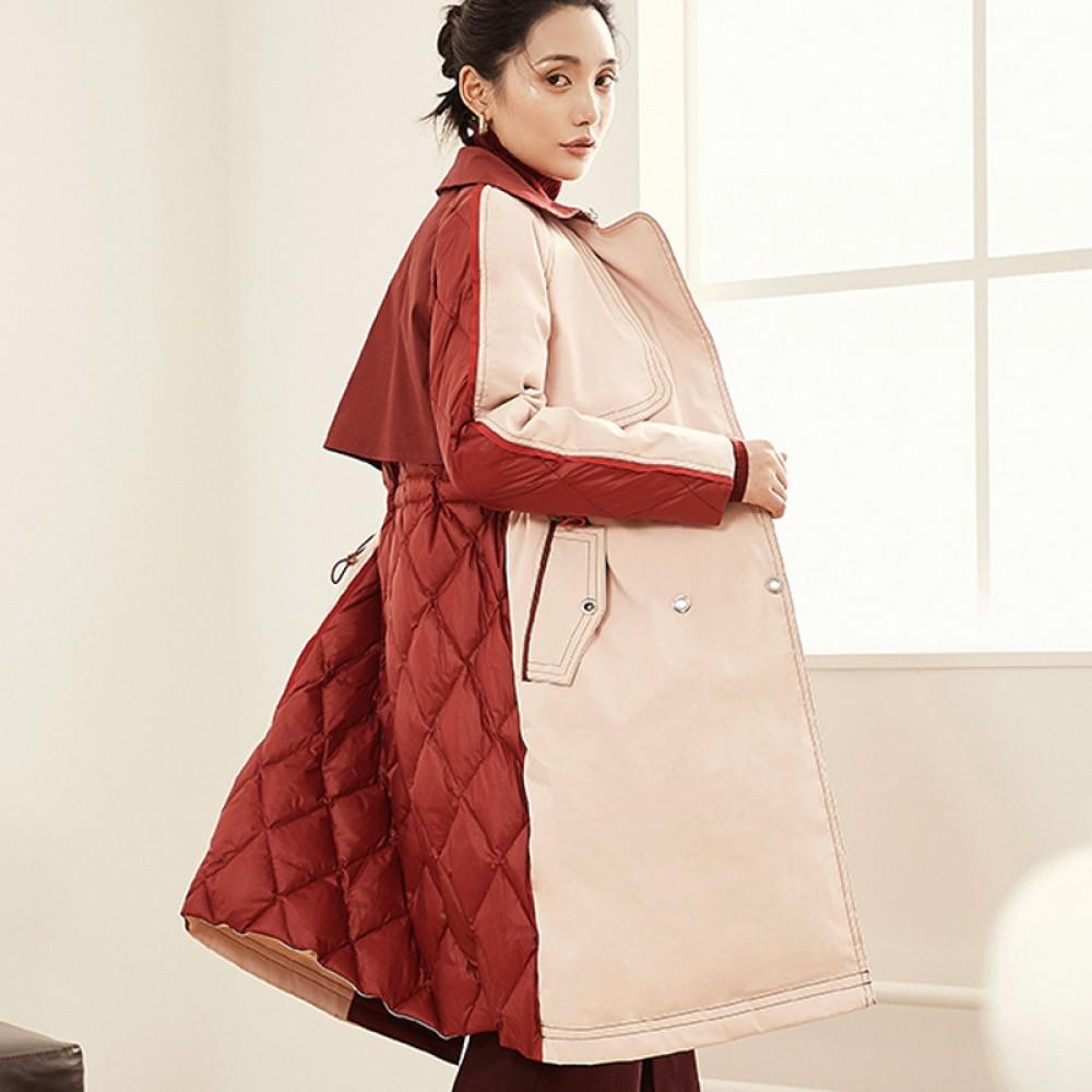 элегантный осенне-зимний пуховой плащ с английским воротничком, стеганой спиной и талией на кулиске, пуховой тренч