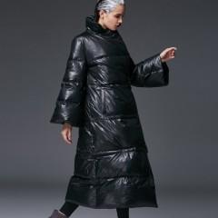 пуховик-кимоно зимний свободный oversize с расклешенными рукавами без капюшона 3DIMENSIONS