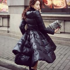 пуховик-платье с пышной юбкой купить черный удлиненный сзади и укороченный спереди