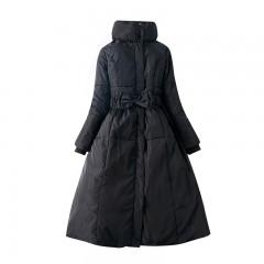 женский трехцветный пуховик-пальто с переливом пуховик платье приталенный с бантиком и воротником-стойкой