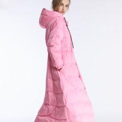 зимний женский воздушный розовый  молочный пуховик зефирка приталенный с пышной юбкой  свободный с капюшоном купить