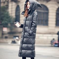 черный прямой приталенный длинный женский бохо пуховик с капюшоном гномом  купить