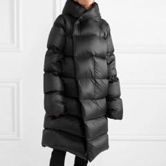 пуховик длинный черный зефирка с капюшоном оверсайз воздушный зимний купить