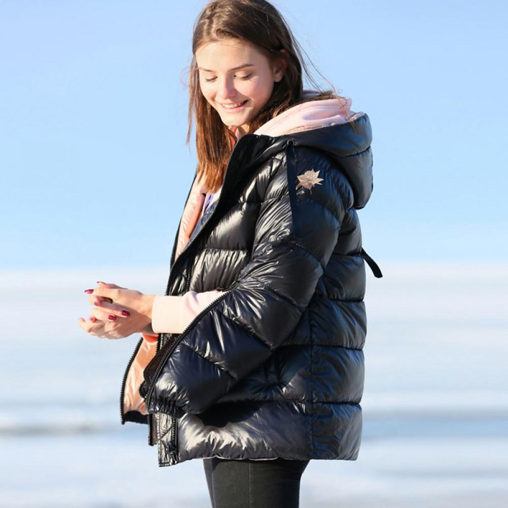короткая пуховая куртка с капюшоном легкая с молниями на рукавах бежевый черный бордовый цвет Amii
