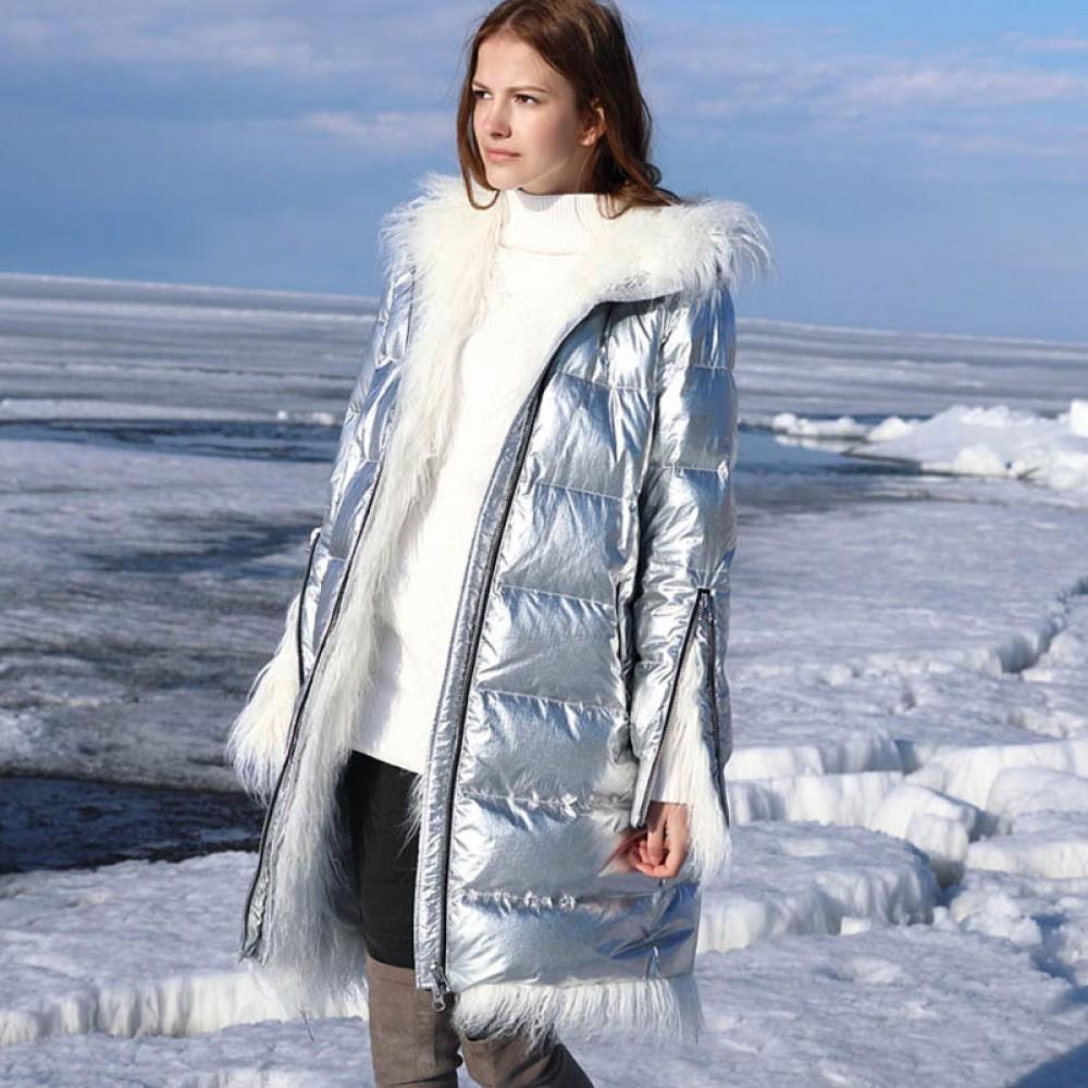 СКИДКА пуховик металлический Amii элегантное пуховое пальто цвета серебристый металлик с меховой отделкой и капюшоном