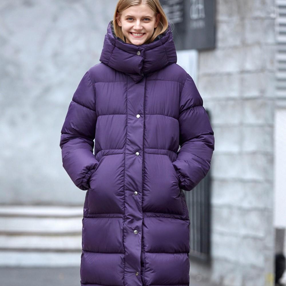 Amii лиловая куртка на синтепоне женская длинная  приталенная с капюшоном без меха