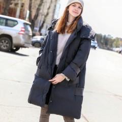 amii женский осенне-зимний  пуховик серый красный, удлиненное легкое пуховое элегантное пальто с капюшоном и декоративны