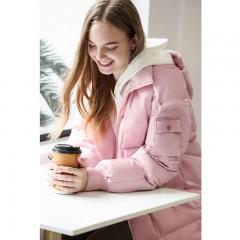 стильный прямой свободный женский зимний пуховик оверсайз с капюшоном без меха серо-голубой розовый  Amii