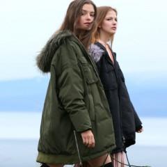 Amii демисезонный свободный сиреневый зеленый хаки  пуховик средней длины с мехом, модная пуховая куртка