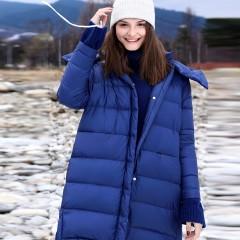 Amii  пуховики синий цвет удлиненный сзади зимний женский с капюшоном