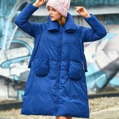 AMII бренд синий расклешенный пуховик-платье демисезонный интересный легкий с небольшими карманами и декоративным швом н