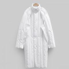 Amii chic пуховик трасформер жилетка стильный кэжуал молочно-белый со съемными рукавами
