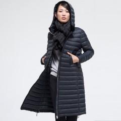 MISUN новинка зимы 2017 прямой пуховик на молнии средней длины с капюшоном купить оригинал бренда