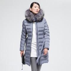 MISUN одежда купить в интернет-магазине,Мисан пуховик средней длины с капюшоном и меховой отделкой