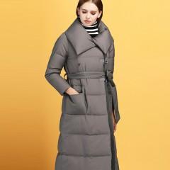СКИДКА зимнее классическое длинное пуховое пальто с высоким воротником  и поясом Мисан