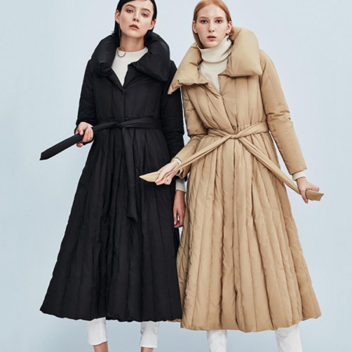 пуховик-платье длинный с расклешенной юбкой вскладку зимний женский CLJ