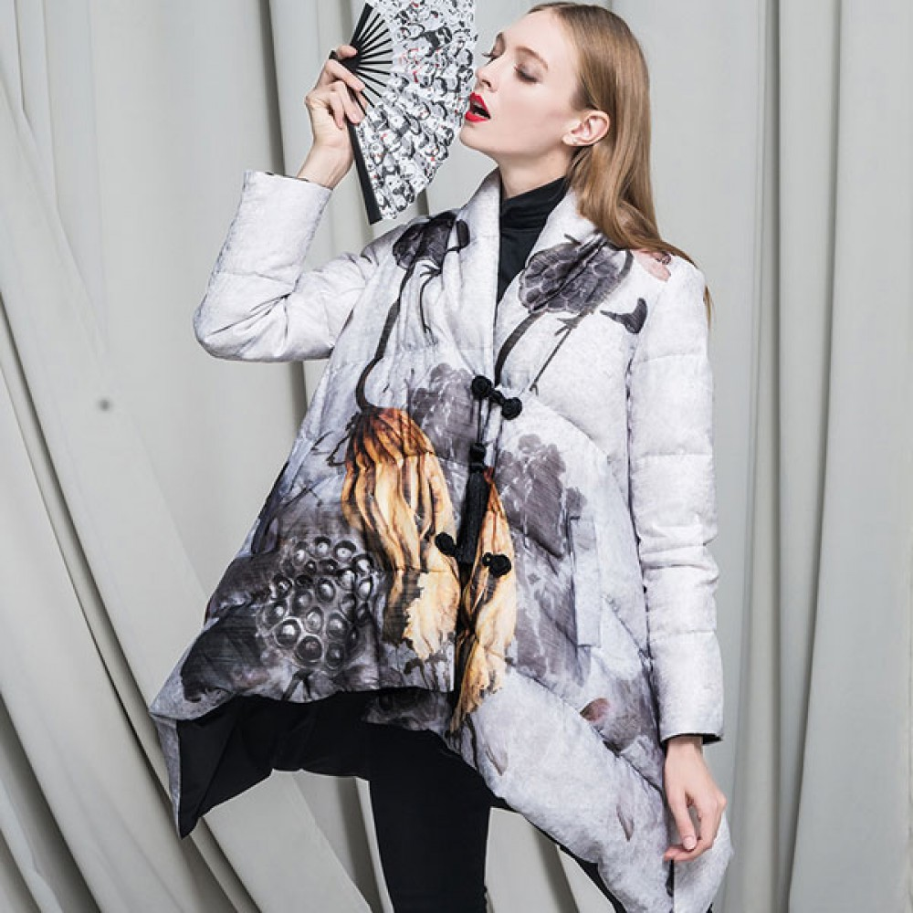 женский пуховик CLJ этно стиль,китайский мотив принт с лотосом, асимметричный дизайн пухового пальто новинка зимы