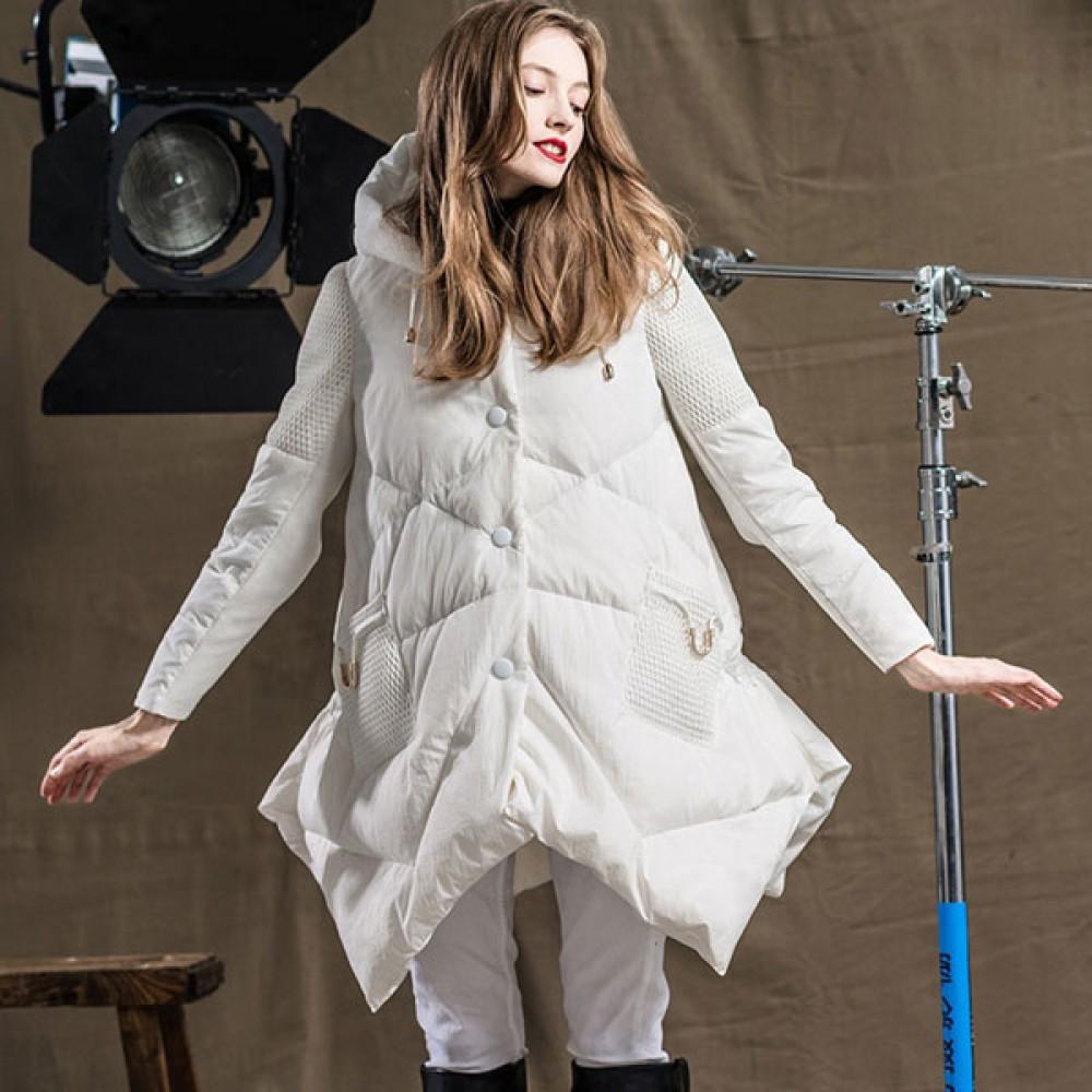RCAT for women child новинка зимы, А-образный силуэт, белый и черный цвет, легкий демисезонный пуховик с капюшоном
