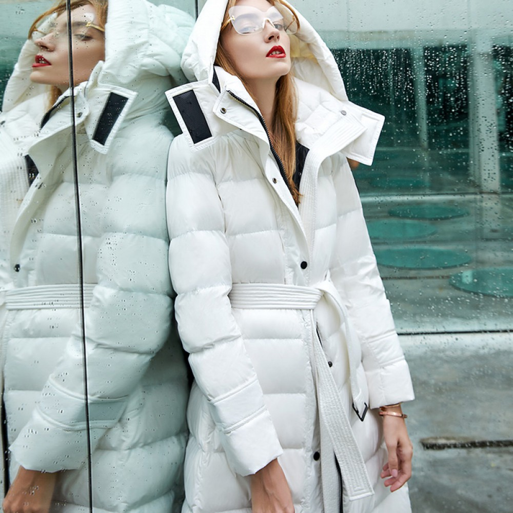 I know the rules RCAT белый пуховик женский зимний с гусиным пухом длинное светлое пуховое пальто с капюшоном