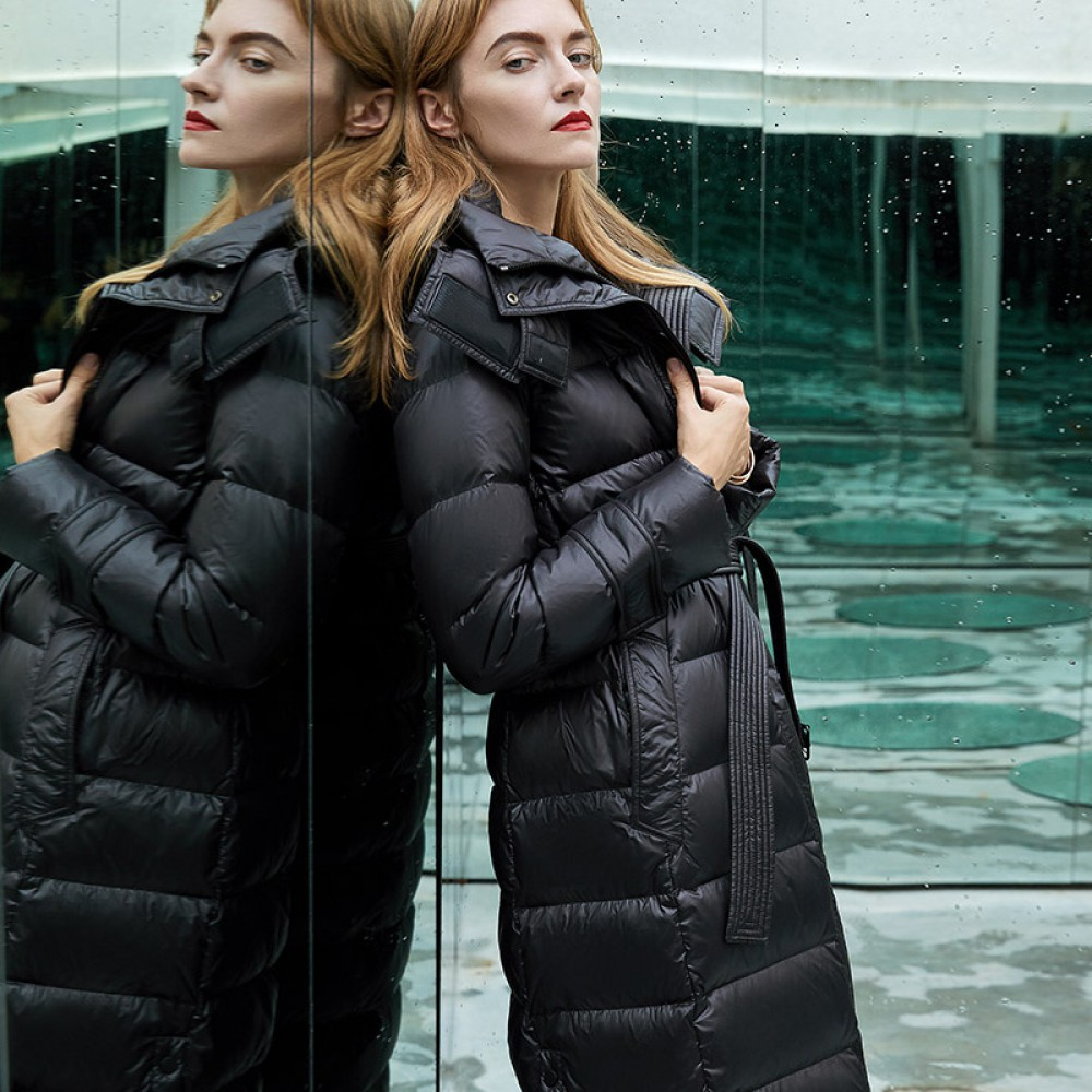 I know the rules длинное женское зимнее пуховое пальто ниже колена черное классика элегантный кэжуал с капюшоном и надпи