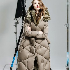 CLJ зимний женский теплый, удлиненное стеганное пуховое пальто с капюшоном