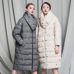 CLJ пуховик купить в интернет -магазине  новинка 2017 легкая трапеция,средней длины пуховое пальто с отстегным воротнико