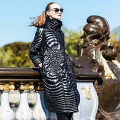 CLJ женский стеганный узорами пуховик-карандаш, французский стиль, черное элегантное пуховое пальто с воротником-стойкой